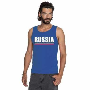 Blauw rusland supporter singlet shirt/ tanktop heren
