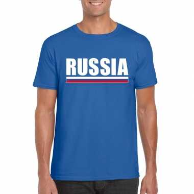 Blauw rusland supporter t shirt heren