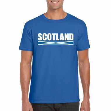 Blauw schotland supporter t shirt heren