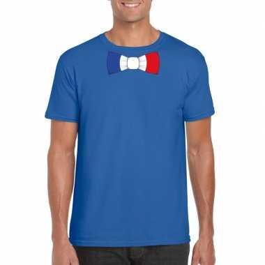Blauw t shirt frankrijk vlag strikje heren