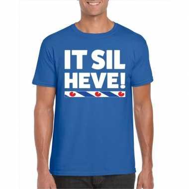 Blauw t shirt friesland it sil heve heren