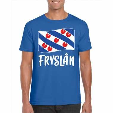 Blauw t shirt fryslan / friesland vlag heren