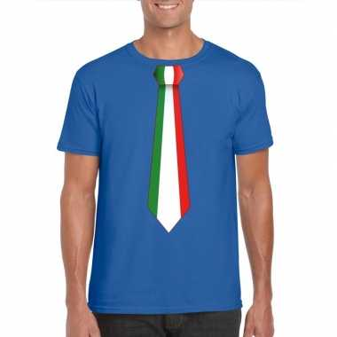 Blauw t shirt italie vlag stropdas heren