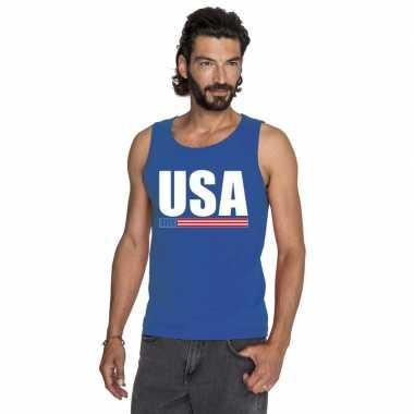 Blauw usa/ amerika supporter singlet shirt/ tanktop heren