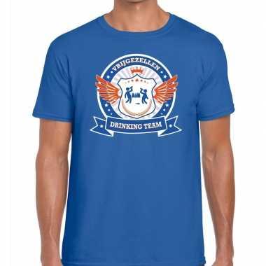 Blauw vrijgezellenfeest drinking team t shirt blauw oranje heren