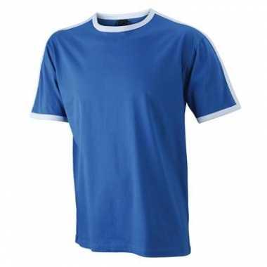 Blauw wit heren t shirt