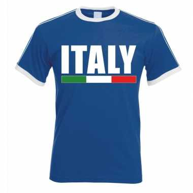 Blauw/ wit italie supporter ringer t shirt heren