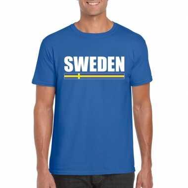 Blauw zweden supporter t shirt heren