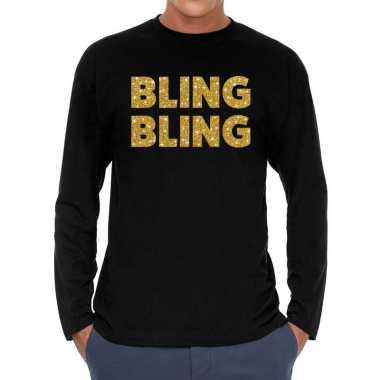 Bling bling goud glitter long sleeve t shirt zwart heren