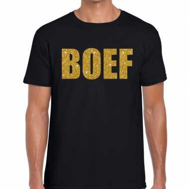 Boef glitter goud tekst t shirt zwart heren