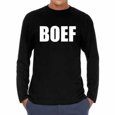 Boef long sleeve t shirt zwart heren