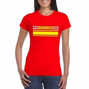 Brandweer logo t shirt rood dames