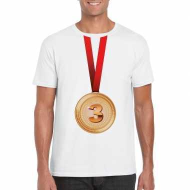 Bronzen medaille kampioen shirt wit heren