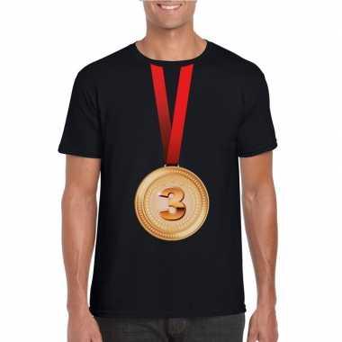 Bronzen medaille kampioen shirt zwart heren
