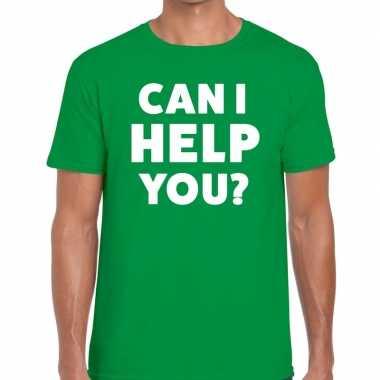Can i help you beurs/evenementen t shirt groen heren