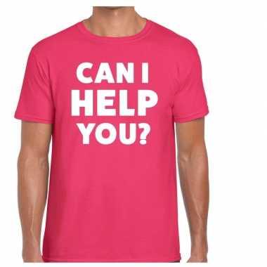 Can i help you beurs/evenementen t shirt roze heren