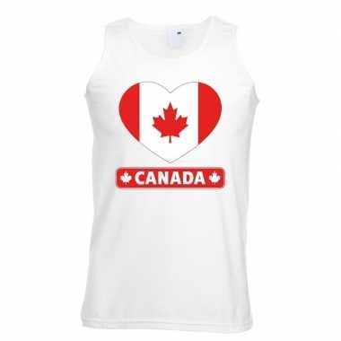 Canada hart vlag singlet shirt/ tanktop wit heren