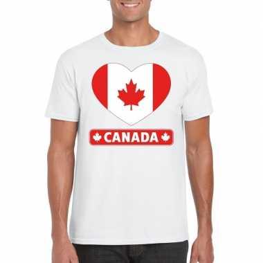 Canada hart vlag t shirt wit heren