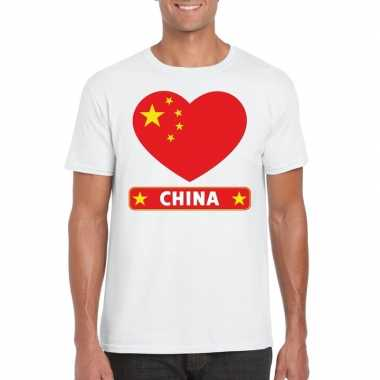 China hart vlag t-shirt wit heren