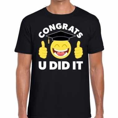 Congrats u did it t shirt geslaagd / afgestudeerd zwart heren