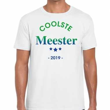 Coolste meester cadeau t shirt wit heren