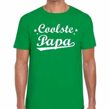 Coolste papa cadeau t shirt groen heren