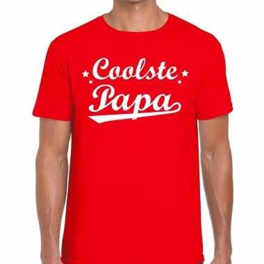 Coolste papa cadeau t shirt rood heren