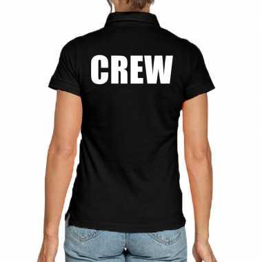 Crew poloshirt zwart dames
