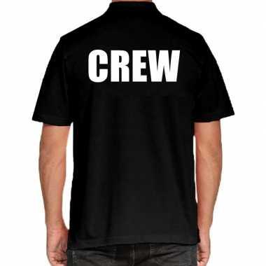Crew poloshirt zwart heren