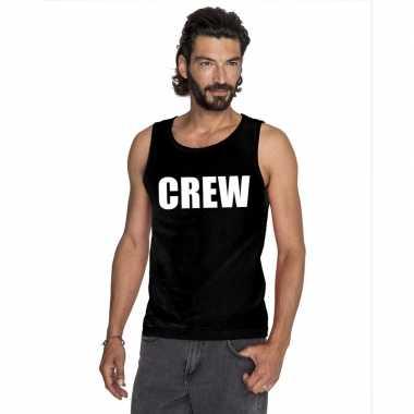 Crew tekst singlet shirt/ tanktop zwart heren