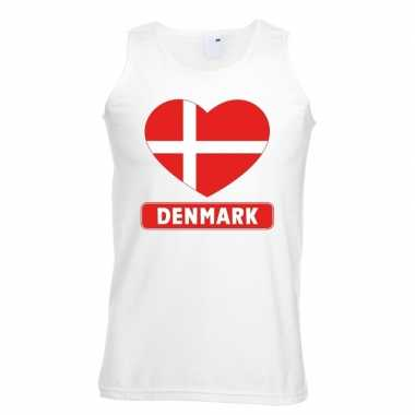 Denemarken hart vlag singlet shirt/ tanktop wit heren