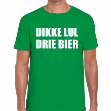 Dikke lul drie bier tekst t shirt groen heren