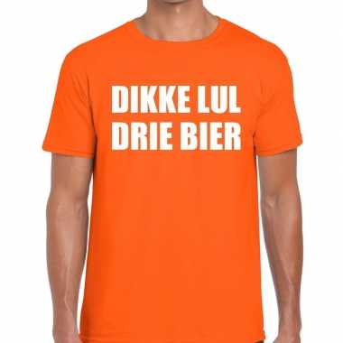 Dikke lul drie bier tekst t shirt oranje heren