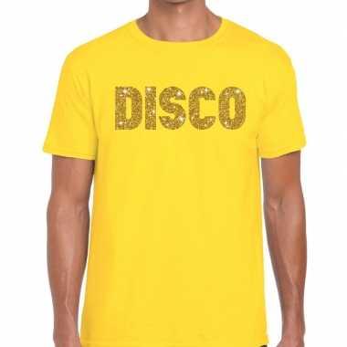Disco goud glitter tekst t shirt geel heren