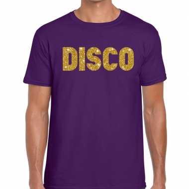 Disco goud glitter tekst t shirt paars heren