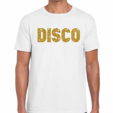 Disco goud glitter tekst t shirt wit heren