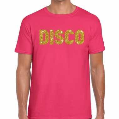 Disco gouden glitter tekst t shirt roze heren