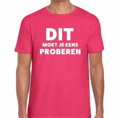 Dit moet je eens proberen beurs/evenementen t shirt roze heren