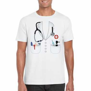 Doktersjas kostuum t shirt wit heren