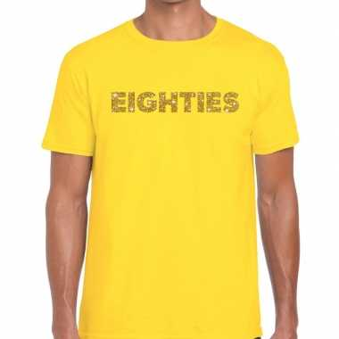 Eighties goud glitter tekst t shirt geel heren