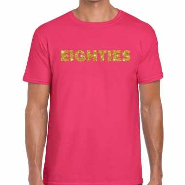 Eighties gouden glitter tekst t shirt roze heren