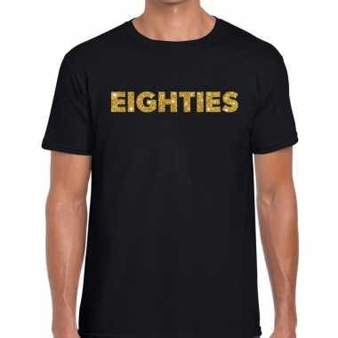 Eighties gouden glitter tekst t shirt zwart heren