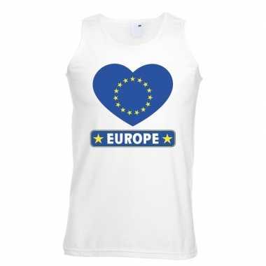 Europa hart vlag singlet shirt/ tanktop wit heren