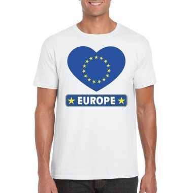 Europa hart vlag t-shirt wit heren