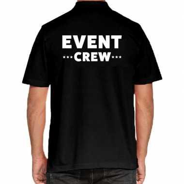 Event crew / personeel tekst polo shirt zwart heren