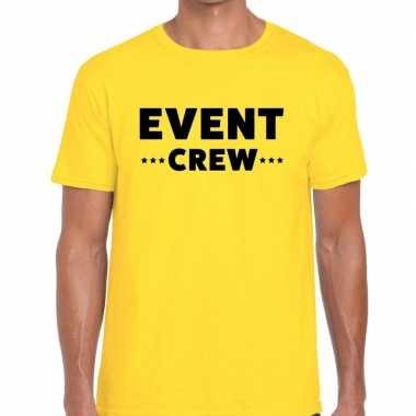 Event crew / personeel tekst t shirt geel heren