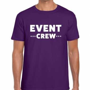 Event crew / personeel tekst t shirt paars heren