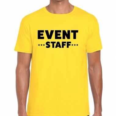 Event staff / personeel tekst t shirt geel heren