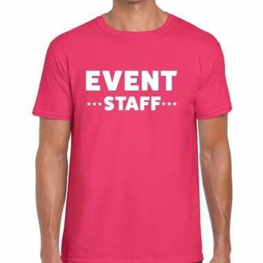 Event staff / personeel tekst t shirt roze heren