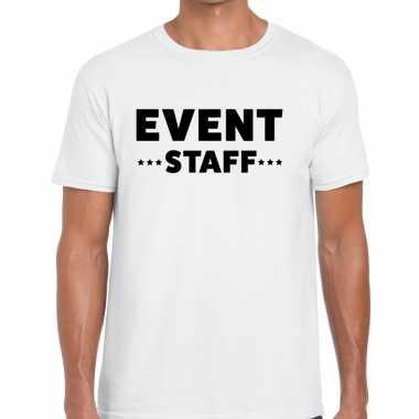 Event staff / personeel tekst t shirt wit heren